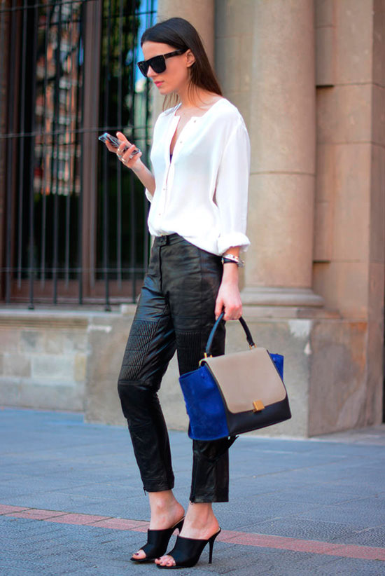 30 Chic Work Outfits to Wear this Summer: Fashion blogger 'Fashion Vibe' wearing a white blouse, black leather ankle pants, black peep toe mules, black sunglasses and a color-bock handbag. Work outfits, summer work outfits, office wear, business casual, fashion, street style, womens fashion.