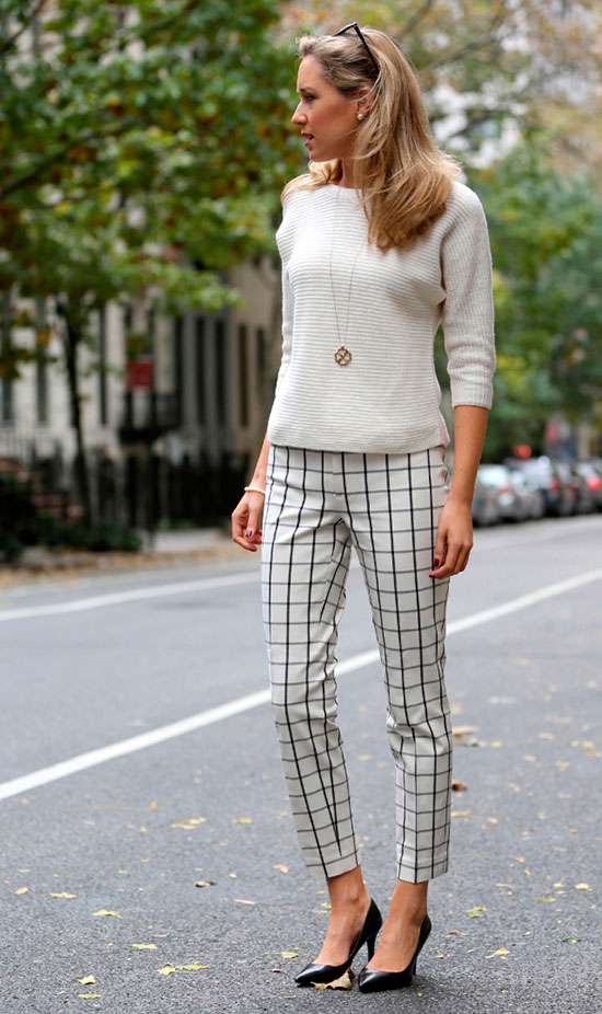 30 Chic Work Outfits to Wear this Summer: Fashion blogger 'Memorandum' wearing a white sweater, white plaid ankle pants, black patent heels and a gold pendant necklace. Work outfits, summer work outfits, office wear, business casual, fashion, street style, womens fashion, spring work outfits.