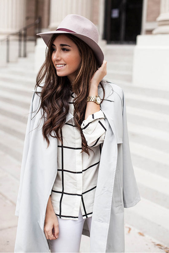 30 Chic Work Outfits to Wear this Summer: Fashion blogger 'The Darling Detail' wearing a blush fedora, a trench coat, a white plaid blouse and white skinny jeans. Work outfits, summer work outfits, office wear, business casual, fashion, street style, womens fashion, spring work outfits.