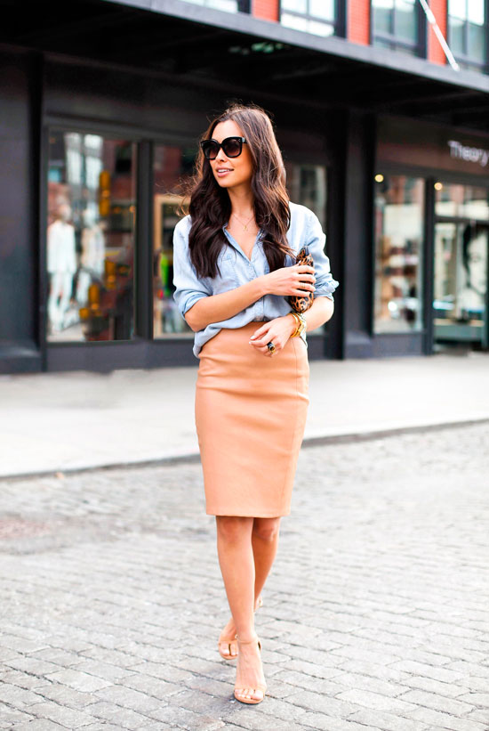 30 Chic Work Outfits to Wear this Summer: Fashion blogger 'With Love From Kat' wearing a chambray shirt, a camel pencil skirt, nude heeled sandals and black cat eye sunglasses. Work outfits, summer work outfits, office wear, business casual, fashion, street style, womens fashion.