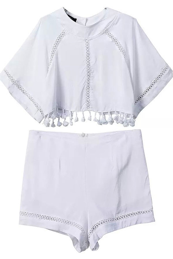 10_Sheinside White Hollow Tassel Crop Top With Shorts ($21.33 usd)