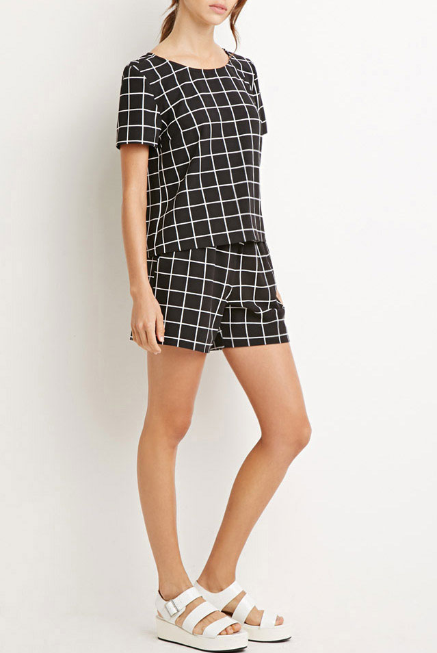 23_Forever21 Boxy Grid Print Top ($17.9 usd)