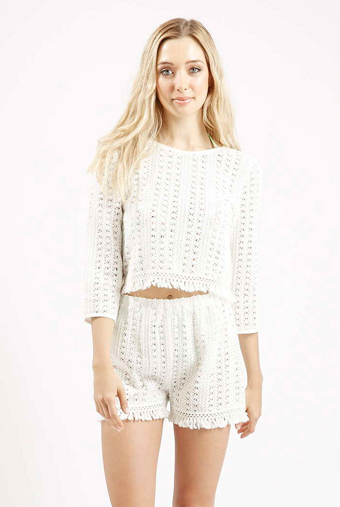 24_Topshop Fringe Trim Crochet Top and Shorts ($102 usd)