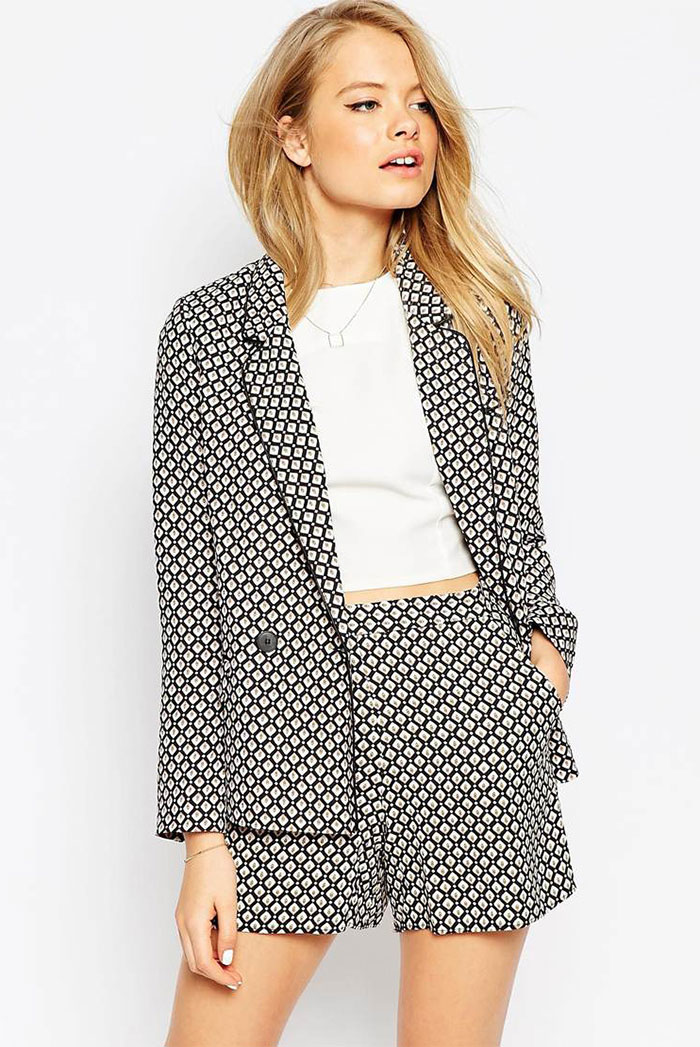 26_ASOS Blazer in Soft 70s Tile Print Coord ($81 usd)