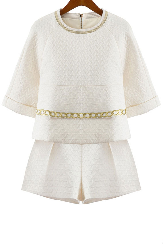 3_Sheinside Beige Half Sleeve Chain Embroidered Top With Shorts ($49.67 usd)