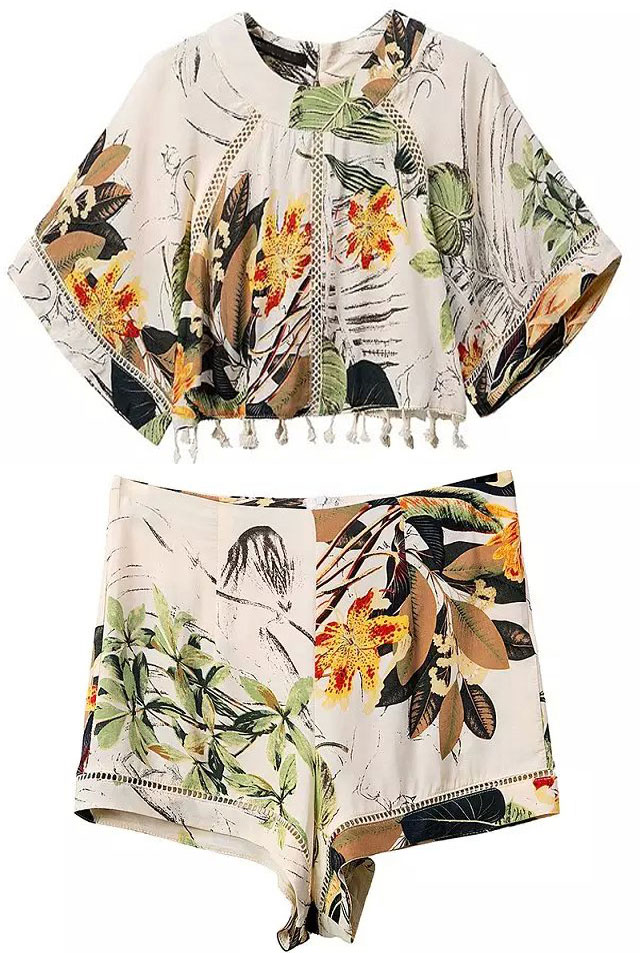 6_Sheinside Apricot Hollow Tassel Floral Crop Top With Shorts ($21.33 usd)