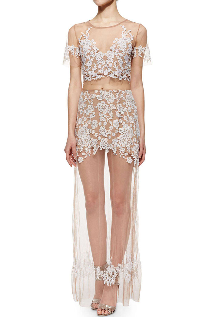 7_White Short Sleeve Lace Sheer Mesh Top With Skirt ($44.67 usd)