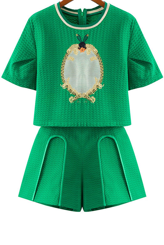 8_Sheinside Green Short Sleeve Embroidered Top With Shorts ($49.67 usd)