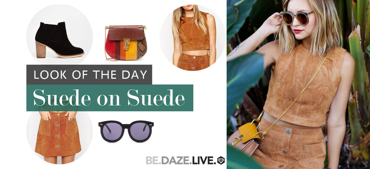 Look Of The Day - Suede on Suede: Fashion blogger 'Late Afternoon' wearing a suede crop top, a suede mini skirt, black suede booties, black round sunglasses and a color-block saddle bag.