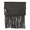 Clare Vivier Fringe Fold-Over Clutch Bag, Black Velvet