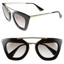 Prada 49mm Retro Sunglasses - black sunglasses, black cat eye sunglasses, black square sunglasses, black modern sunglasses, black retro sunglasses, black geometric sunglasses