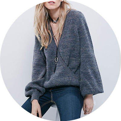 Free People Wrap Sweater, blue grey