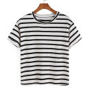 Shein Striped Black T-shirt, striped t-shirt, striped short sleeve t-shirt, striped crew neck t-shirt