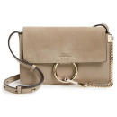 Chloé 'Small Faye' Bag, grey suede bag, nude suede bag, taupe suede bag, grey small bag, grey shoulder bag, grey crossbody bag
