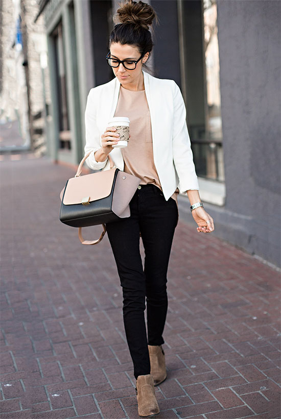 15 Lovely Valentine's Day Outfit Ideas: Blogger 'Hello Fashion Blog' wearing a white open blazer, a blush t-shirt, black skinny jeans, nude suede ankle boots and a neutral toned handbag