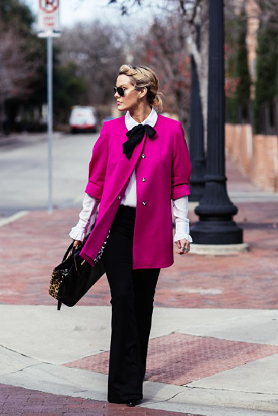 18 Lovely Valentine's Day Outfit Ideas: Blogger 'Kerrently' wearing a pink 3/4 sleeve coat + a black and white bow blouse + black wide leg pants + black sunglasses and a black and leopard print handbag