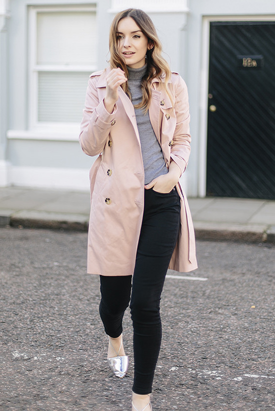 18 Lovely Valentine's Day Outfit Ideas: Blogger ' What Olivia Did' wearing a blush trench coat, a grey turtleneck top, black skinny jeans and silver flats
