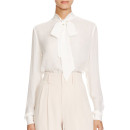 Alice + Olivia Freddie Tie Neck Blouse, white shirt, white blouse, white tie neck shirt, white tie neck blouse, white bow shirt, white bow blouse