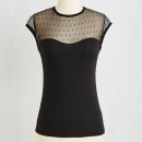 Modcloth The Answer Is Top, black illusion neckline top, black mesh yoke top