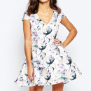 True Decadence Petite Prom Dress, floral print mini dress, floral print fit and flare dress, floral print short sleeve dress