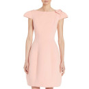 Teri Jon Blush Bow-Shoulder Dress, pale pink dress, blush dress, pale pink fit and flare dress, blush fit and flare dress