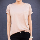 Ily Tan Pocket Shirt, pale pink t-shirt, pink t-shirt, blush t-shirt, nude t-shirt, tan t-shirt