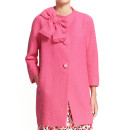 kate spade new york 'dorothy' Coat, pink light coat, pink collarless coat, pink 3/4 sleeve coat