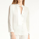 Halston Heritage Mandarin Collar Top, white silk blouse, white keyhole blouse, white v-neck blouse