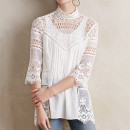 Plenty Laced Maris Tunic, white lace turtleneck top, white lace mock neck top, white lace long sleeve top