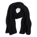 Evelyn K Cable Knit Scarf, black scarf, black simple scarf, black knit scarf, black cable knit scarf