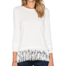 Milly Flutter Sweater, white fringe top, white fringe long sleeve top