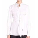 Tibi Tie Shirt, white shirt, white blouse, white wrap shirt, white wrap blouse, white belted shirt, white belted blouse
