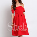 Shein Off The Shoulder Dress, red midi dress, red off shoulder dress, red fit and flare dress, red off shoulder midi dress