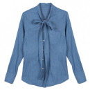 Choies Tie Collar Denim Shirt, denim shirt, chambray shirt, tie-neck denim shirt, tie-neck chambray shirt, bow denim shirt, bow chambray shirt, tie-collar denim shirt, tie-collar chambray shirt