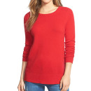 Halogen Light Cashmere Sweater (Regular & Petite), red cashmere sweater, red crewneck sweater, red light sweater