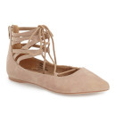Coconuts 'Liberty' Ghillie Flat, nude flats, nude pointy toe flats, nude suede flats, nude lace-up flats