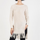 Choies Fringing Hem Jumper, white fringe sweater, white fringe tunic, cream fringe sweater, cream fringe tunic