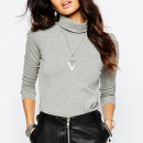 Noisy May Jersey Turtleneck, grey turtleneck top, grey turtleneck long sleeve top