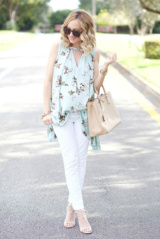 Street Style - The Top Blogger Looks Of The Week: Fashion blogger 'A Spoonful Of Style' wearing a mint floral print sleeveless keyhole tunic, white skinny jeans, nude ankle strap heeled sandals, brown sunglasses and a nude handbag