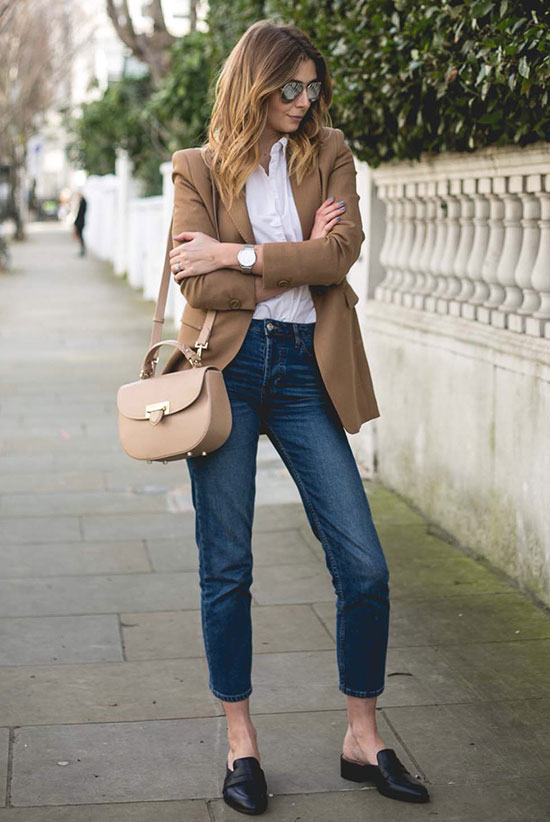 Street Style - The Top Blogger Looks Of The Week: Fashion blogger 'EJ Style' wearing a brown coat, a white shirt, crop jeans, black pointy toe mule flats, mirror aviator sunglasses and a nude shoulder bag