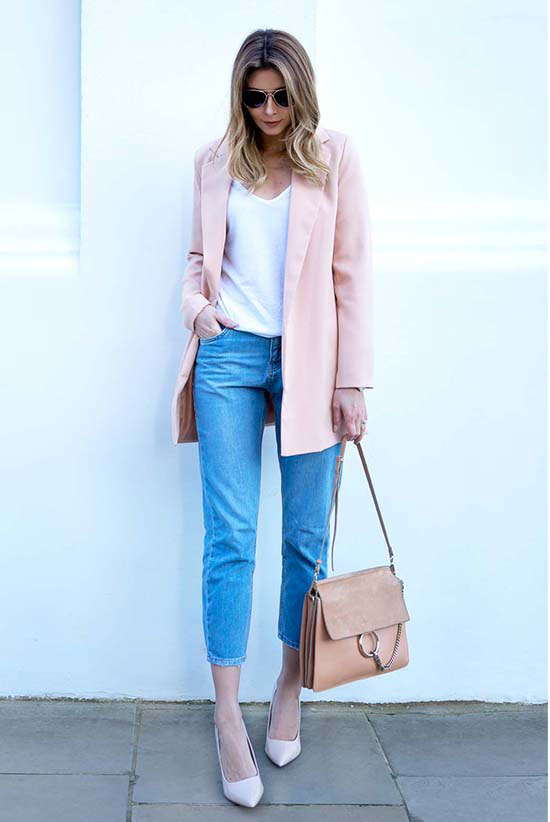 Street Style - The Top Blogger Looks Of The Week: Fashion blogger 'EJ Style' wearing a light pink blazer, a white v-neck t-shirt, crop jeans, blush pointy toe heels, aviator sunglasses and a light pink suede shoulder bag