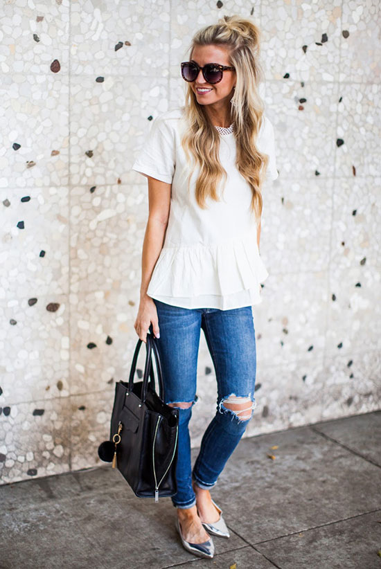 street style - The Top Blogger Looks Of The Week: Fashion Blogger 'Elle Apparel' wearing a short sleeve peplum top, skinny jeans, silver pointy toe flats, brown round sunglasses and a black handbag - summer outfit