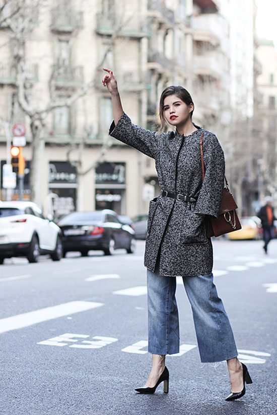 street style - The Top Blogger Looks Of The Week: Fashion blogger 'Fake Leather' wearing a grey 3/4 sleeve collarless coat, denim culottes, black block heel pointy toe pumps, a black western belt and a brown shoulder bag. Fall outfits, winter outfits, casual outfits