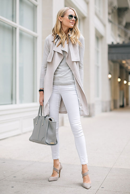 spring work outfits - 30 Spring Work Outfits To Try Right Now: Fashion Blogger 'Fashion Jackson' wearing a light grey trench coat, a light grey light sweater, white skinny jeans, light grey pointy toe heels, mirror aviator sunglasses and a light grey handbag