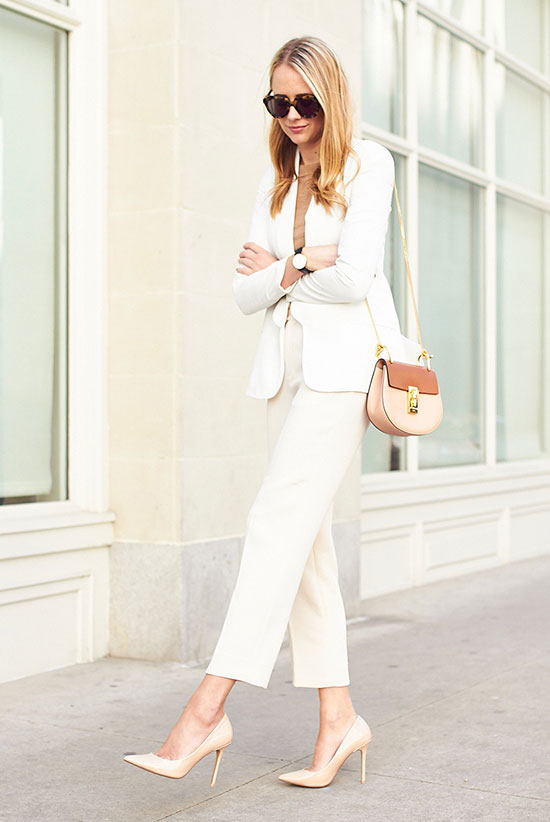 street style - The Top Blogger Looks Of The Week: Fashion blogger 'Fashion Jackson' wearing a white blazer, a camel t-shirt, white ankle pants, nude pointy toe heels, brown sunglasses and a light pink shoulder bag. Summer outfits, work outfits, business casual, office wear, neutral outfits