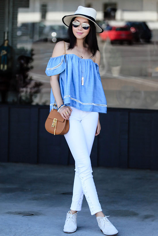 Who Wore It Better? - summer fashion - summer outfits - Fashion Blogger 'Fit Fab Fun Mom' wearing chambray off shoulder top, white skinny jeans, white chukka boots, a black and white hat, mirror sunglasses and a brown shoulder bag