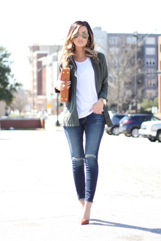bomber jacket - The Bomber Is Fashion's Favorite Spring Jacket: Fashion blogger 'For All things Lovely' wearing a military green bomber jacket, a white crewneck t-shirt, skinny jeans, brown suede pointy toe heels, aviator sunglasses and a brown clutch. street style, street chic style, spring outfits, fall outfits