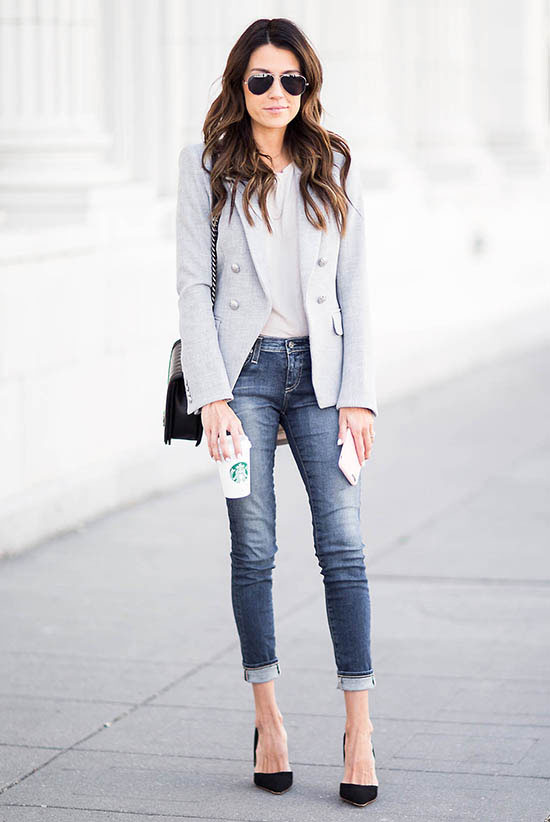 street style - The Top Blogger Looks Of The Week: Fashion Blogger 'Hello Fashion' wearing a light grey blazer, a white t-shirt, skinny jeans, black suede pointy toe heels, silver aviator sunglasses and a black shoulder bag