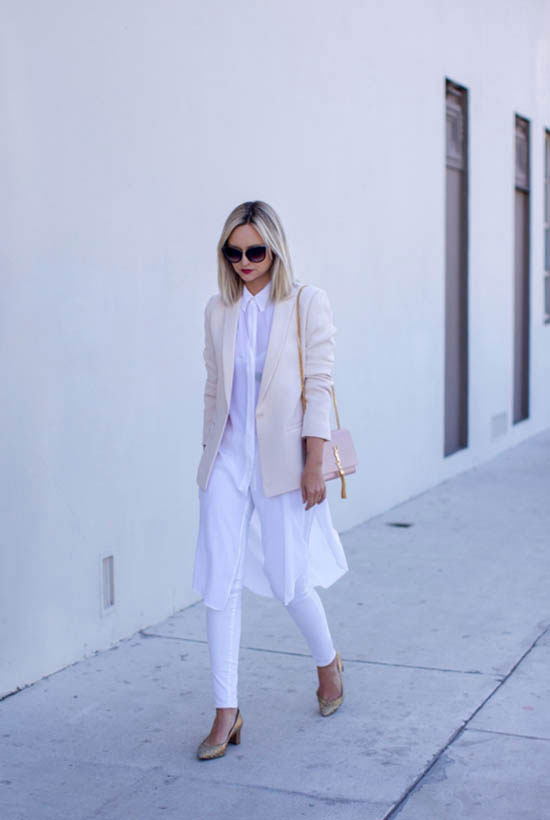Street Style - The Top Blogger Looks Of The Week: Fashion blogger 'Late Afternoon' wearing a blush long blazer, a white longline shirt, white skinny jeans, nude slingback low heel pointy toe shoes, black cat eye sunglasses and a light pink shoulder bag