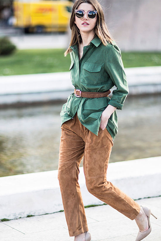 street style - The Top Blogger Looks Of The Week: Fashion Blogger 'Lovely Pepa' wearing a green suede shirt, a brown suede belt, brown suede ankle pants, nude suede pointy toe heels and golden cat eye sunglasses - spring outfit - fall outfit - work outfit